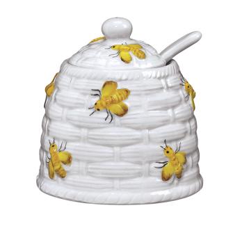 Yellow Honey Bee Sugar Bowl Or Pot