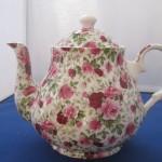 Summertime Pink Chintz Teapot