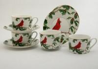 red cardinal cup and saucer