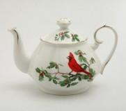 red cardinal teapot