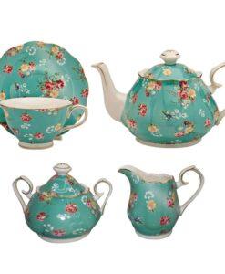 Shabby Rose Turquoise Tea Set